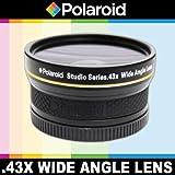 Objectif grand angle haute définition .43x de Polaroid Studio Series avec fixation macro, inclut une housse d'objectif et les couvercles d'objectif pour l'Olympus Evolt E-30, E-300, E-330, E-410, E-420, E-450, E-500, E-510, E-520, E-600, E-620, E-1, E-3, E-5 Reflex numériques Qui avez l'une des (14-42mm, 40-150mm, 70-300mm) Olympus lentilles
