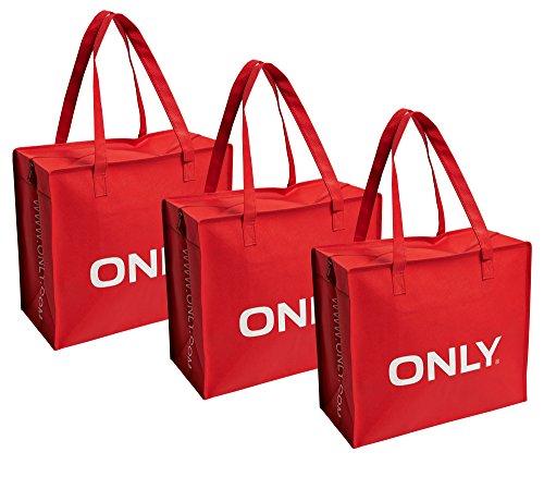 """ONLY custodia """"3 pacchetto"""" Shopping Bag borsa acquisto spalla borsa, nuovo, rosso, Taglia unica"""