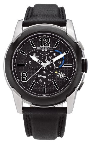 Jorg Gray Men's Quartz Analogue Watch JG9400-12 With Calf Leather Strap and Black Dial
