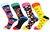 FULIER Mens New Fashion 4 Pack Cotton Rich Dress Happy Socks,Comfortable,Breathable,Smart Design Calf Sock UK 6-11