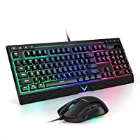 توبميت KM11 مجموعة لوحة مفاتيح وماوس للألعاب، لوحة مفاتيح بإضاءة خلفية بألوان قوس قزح مع ماوس 6400DPI ، لوحة مفاتيح للألعاب للنوافذ، المكتب، لاب توب، الكمبيوتر