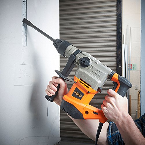 VonHaus SDS Drill Rotary Impact Hammer 240V with SDS Plus Chuck 1500W - Complete with SDS Drill Bits 8/10/12mm - 2 Chisel Bits & Storage Case - 3 Functions Rotary, Rotary with Impact & Chisel