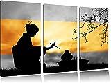 Tradizionale cerimonia del tè Gesha bianco / nero 3 pezzi immagine immagine tela 120x80 in su tela, XXL enormi immagini completamente Pagina con la barella, stampa d'arte sul murale con telaio, più economico di pittura o un dipinto a olio, non un manifesto o un banner,
