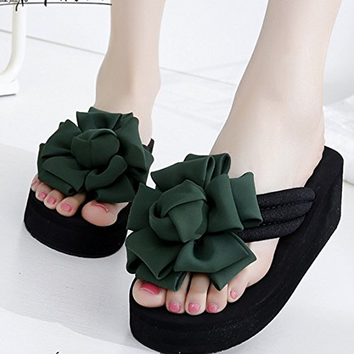 Confortevole Al di fuori della parola pantofole Donna estate scivoloso con pantofole Dolci fiori freddi pattini freddi Spessore scarpe da spiaggia alla moda di fondo Piedi e pantofole (5 colori opzion D