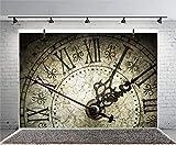 OERJU 2,7x1,8m Steampunk Fondo Antiguo Moderno Reloj Patrón Retro Fondo Partido Paseo Decoración de Pared Bandera Póster Fotografía