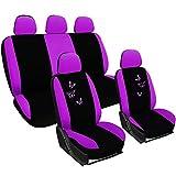 WOLTU AS7245 Universal Sitzbezug für Auto Sitzbezüge Schonbezüge Autositzschoner, Butterfly Stickerei, schwarz-violett