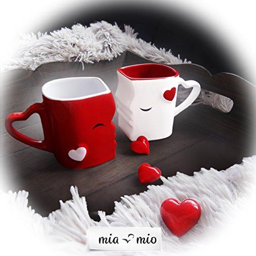 Mia ♥ Mio – Tazza da caffè/Set Bacio Tazze in Ceramica (Rosso) - 3