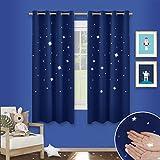 Sterne Verdunkelungsvorhänge mit Ösen - PONY DANCE 1 Paar ausgestanzt flackern Vorhänge Blickdicht Gardine für Baby, Kinderzimmer Vorhang, Thermo isoliert 137 cm x 116 cm (H x B), Blau