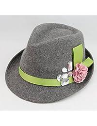 Gr Flanell Blume kleine Kapuze wilde Mode Hut Beret Homme Boina mit Kapuze Ruili Magazin Stil Blume Kapuze Lady Pop (Color : Gray)