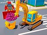 Gelber Bagger und roter Bulldozer