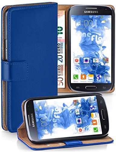 moex® Booklet mit Flip Funktion [360 Grad Voll-Schutz] für Samsung Galaxy S4 Mini   Geldfach und Kartenfach + Stand-Funktion und Magnet-Verschluss, Dunkel-Blau