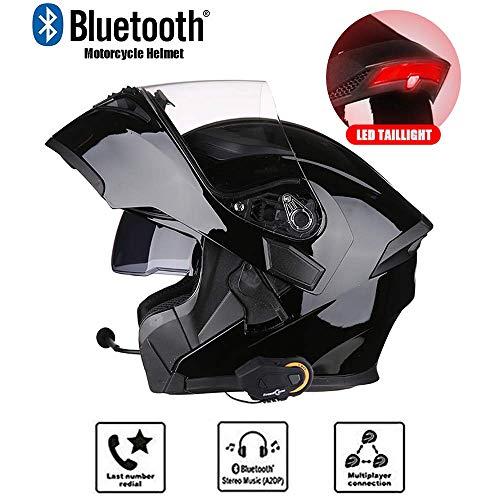 MIANCY-Outdoor Modularer Klapphelm für Motorräder Muti-Function-Bluetooth-Helm mit Headset/LED-Rücklicht - UKW-Radio & Gegensprechanlage & Anruf,XXL(62cm~63cm)