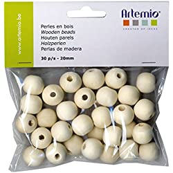 Artemio - Juego de 30 abalorios (20 mm, madera), color beige