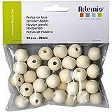 Artemio 30 Pièces 20 Perles en bois, Beige