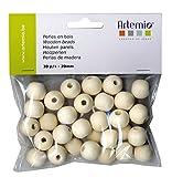 Artemio 30 Perles de 20 mm en bois, Beige