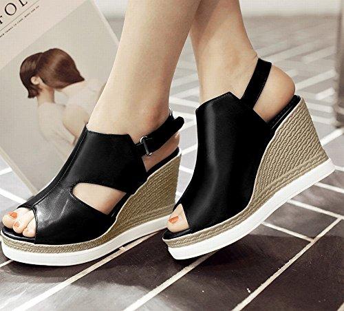 Mee Shoes Damen runde bequem Süß Klettband Peep-toe mit Plateau und hohen Absätzen Party-Shuhe Schwarz