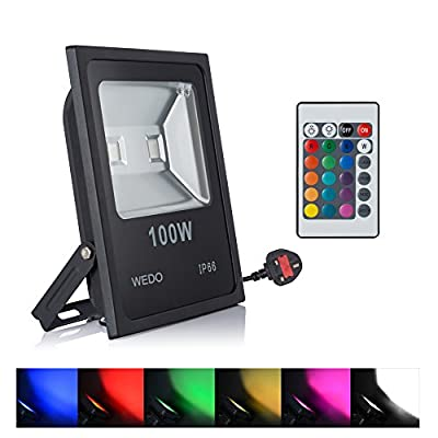 WEDO 100W RGB Led Flood Light IP66 Waterproof 16 Colors Change 4 Modes with Remote Control Wall Wash Light Security Light With UK 3-Plug for Outdoor Garden Landscape Yard Car Park produced by WEDO - quick delivery from UK.