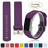 Fitbit Charge 2 Accessory Band - iFeeker Classic Multi Colours Replacement Soft Silicone Adjustable Replacement Sport Bracelet Strap Watchband for Fitbit Charge 2 Heart Rate and Fitness Wrist Band (Small or Large Size Available)