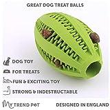 My Trend Pet Balle distributrice de jouets pour chien Jouet pour chien, boule le rugby vert | Caoutchouc naturel non toxique anti-morsure soulager
