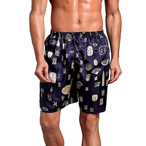 FRAUIT Männer Lose Drucken Shorts Kurze Pyjamahosen aus Seide Sommer Männer Silk Satin Shorts Kurze Hosen Mode Wunderschön Design Freizeit Urlaub Reisen Kleidung Silk Blend Hose
