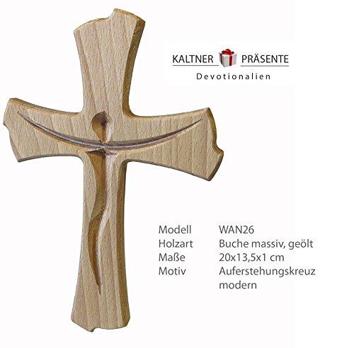 Kaltner Präsente Geschenkidee - Wandkreuz Echt Buche Holz Kreuz Kruzifix für die Wand 20 cm modern -