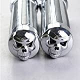 "THG 2x Motos Custom billete del cromo de aluminio mano del cr¨¢neo Grips Universal Fit motocicleta 1 ""manillar"