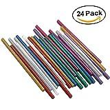 Ewparts 24 pc Pack farbige Glitzer Kunst Handwerk Heißleim Pistole Kleber sticky Sticks, 7mm * 200mm (Glitter-24pcs)