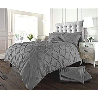 SELECT-ED® Luxuries Diamond Alford/Pintuck Duvet Cover Set with Pillow Cases,Bed Line/Quilt Sets (Super King, Grey/Silver)
