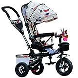 Ydq Dreirad 3 In1 Kinderwagen Dreirad Ab 1 Jahr Mit Lenkbarer Schubstange, FlüSterleise Gummireifen Und Sonnendach,A