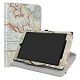LiuShan All-New Amazon Fire HD 10 Rotary Funda, Giratoria 360 Grados de Rotación Carcasa con Stand Soporte Caso Fire HD 10 2017 Android Tablet,Map White