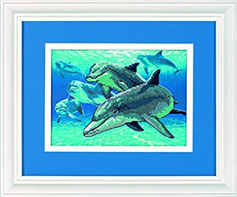 Dimensions Mini No Count Cross Stitch Kit - Deep Sea Dolphins