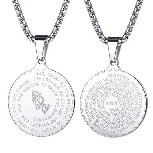 FaithHeart Anhänger Mit Gravur Rund Anhänger Halskette für Herren Männer mit Gravur Bibel Silber Jesus Amulett Religiöse Schmuck ...