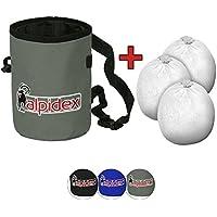ALPIDEX Chalkbag Highfly, Incluyendo 3 x Chalk Ball 35 g, Color:Grey Mountain