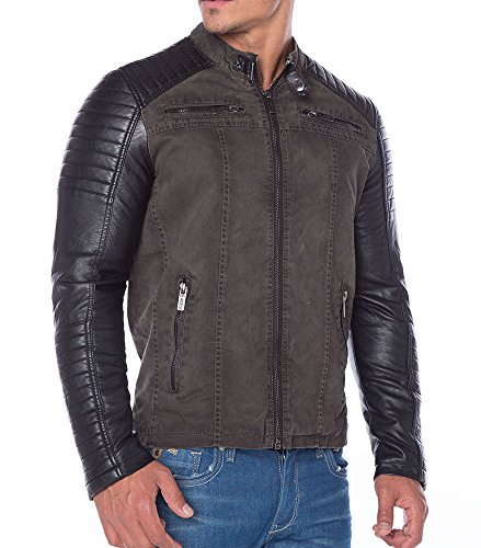 Red Bridge Jacke Herren Biker Kunstleder Lederjacke Redbridge Jacket mit gesteppten Bereichen (L, Grau)