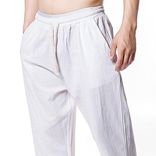 Pantaloni-Uomo-Jogging-Sportivi-Styledresser-Slim-Fit-Pantaloncini-Allentati-Casuali-Pantalone-Polsino-Tasche-Laterale-Giacca-di-lino-e-coulisse-Vita-Elastica