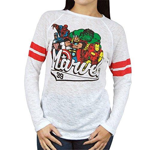 Freeze Womens Retro Marvel Comics Burnout Lightweight Sweatshirt White