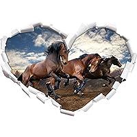 Selvaggio forma libera cuore cavallo nella adesivo formato aspetto, parete o una porta 3D: 92x64.5cm, autoadesivi della parete, decalcomanie della parete, Wanddekoratio - Libera Accessori Natale