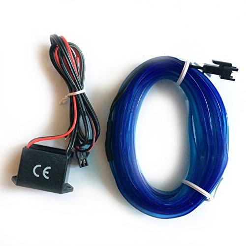 INION® 3m +1x Inverter Blau ☀ EL - AMBIENTENBELEUCHTUNG ☀ mit 12Volt Inverter/Adapter Innovativer und einzigartiger EL-Stripe nach Wahl. Lichtleisten Strip Band Licht Beleuchtung für moderner Innenraumbeleuchtung. Eine hochwertige und edle Optik (3m + 1x Inverter, Blau)