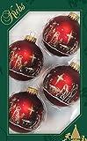 Dekohelden24 - Lauschaer Christbaumschmuck 4er Set Kugeln rot matt mit Dekor Heilige Familie - 50 Schnellaufhänger gratis