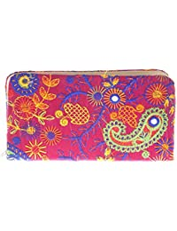 Envie Cloth/Textile/Fabric Pink & Multi Zipper Closure Embroidered Clutch For Women For Women