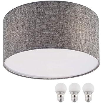 Sebson E27 Plafonnier Cm DiamètreRonde TextileAvec W Lampe 5 Led Chaud40 Blanc Gris RL4j5A