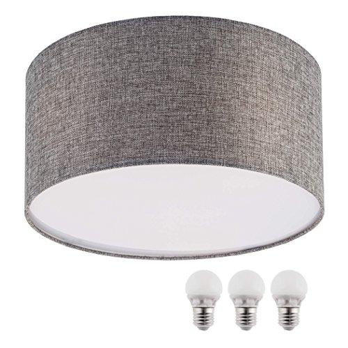 Plafón Sebson, color gris, textil, incluyebombilla LED E275W blanco cálido, 40cm de diámetro, lámpara redonda, lámpara de techo