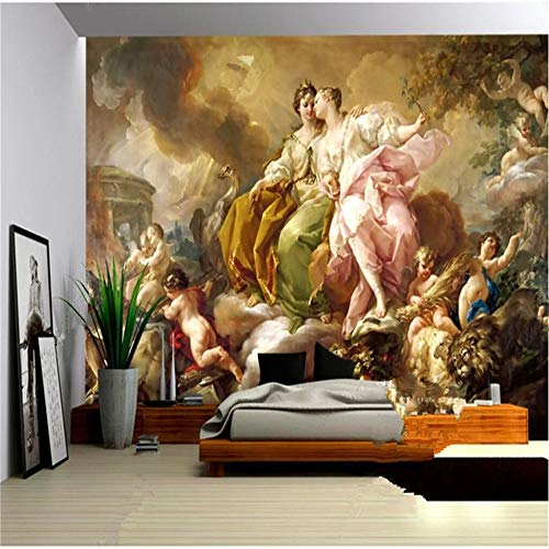 Peinture Murale, Photo De Papier Peint Européen Européen 3D Papier Peint Classique Palais Peinture À L'Huile De Paix Paix Pigeon Olive Fleur Déesse, 366X254Cm