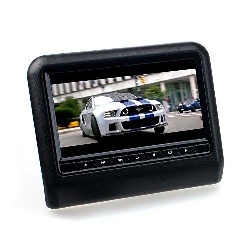 Slim TFT-Kopfstützenmonitor 9 Zoll (22,86cm) mit FM-/ IR-Transmitter, DVD-Player, USB-Anschluss, SD(HC) Multimediaplayer, integrierten Lautsprecher (Farbe: Schwarz) Rear-seat-dvd-player