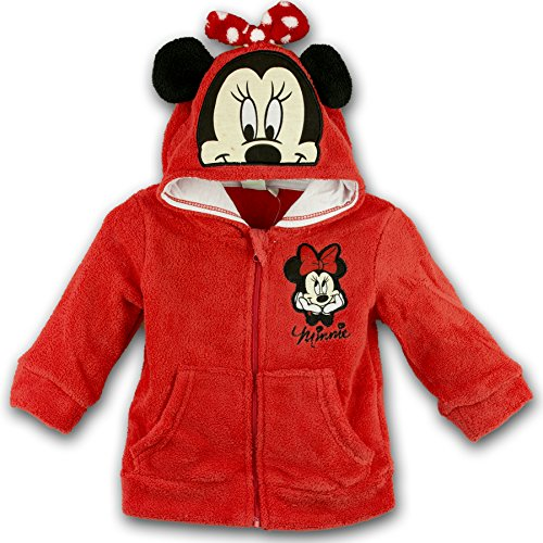 Disney Baby-Mädchen Weste Minnie Mouse Head Hood, Rot-Rot, 80