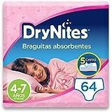 DryNites - Braguitas absorbentes para niña - 4-7 años (17-30 kg), 4 paquetes x 16 uds (64 unidades)
