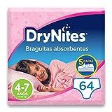 DryNites - Braguitas absorbentes para niña - 4 - 7 años (17-30 kg), 4 paquetes x 16 uds (64...