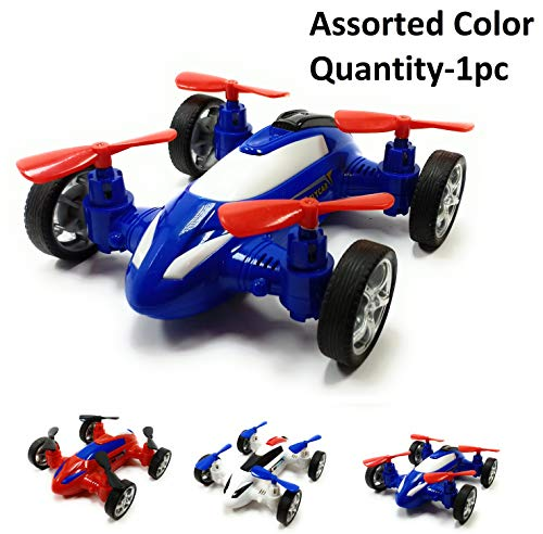 SaleOnTM Unbreakable Diecast Plastic Drone Toy Model Car Helicopter Style Toy with Moving Fans Friction Powered(Assorted Color)-935
