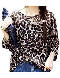 Mujeres Blusa Batwing Manga Corta Túnica de Gasa Blusa Camiseta Top 3 4 sin  chaleco e7dfcbad8cf