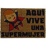 koko doormats Felpudo para Entrada de Casa Aquí Vive una Supermujer Original y Divertido, 40x60 cm